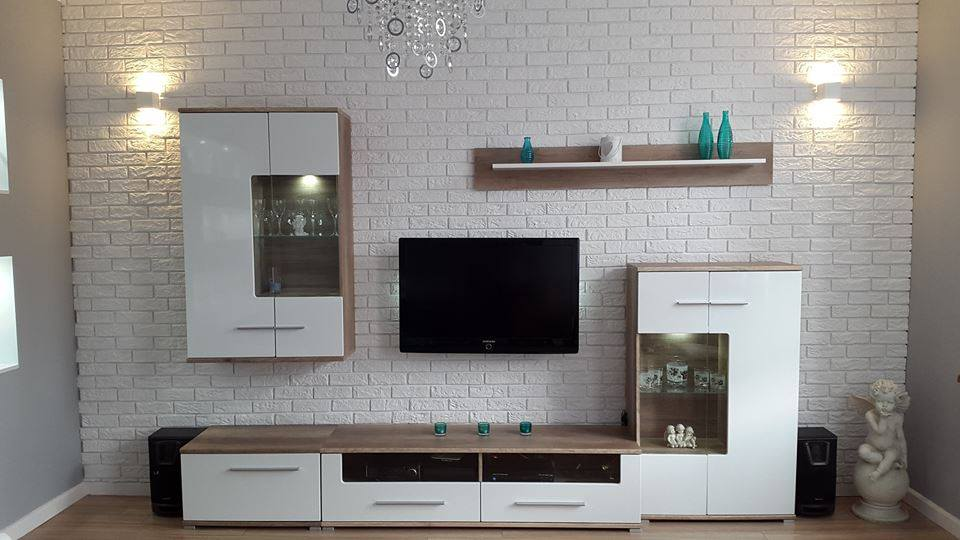 Love White Brick Living Room Decor