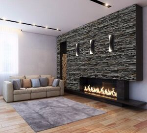 Electric Stone Fireplace Wall By Decostones Ireland