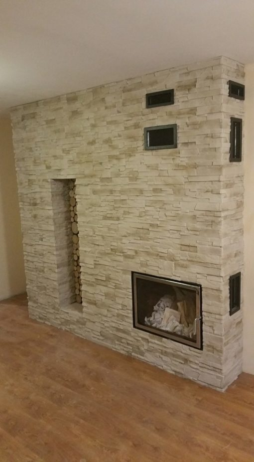 madera stone wall fireplace decor