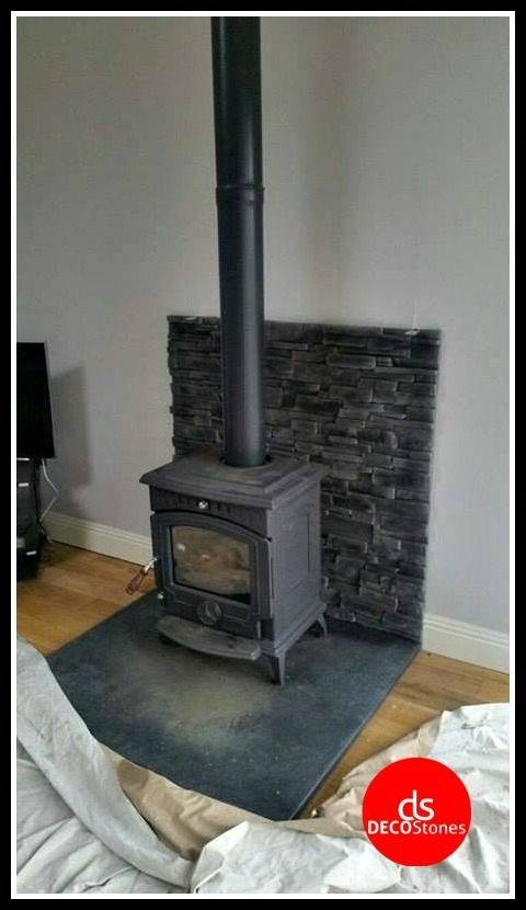 grenada graphite stove grey stone cladding