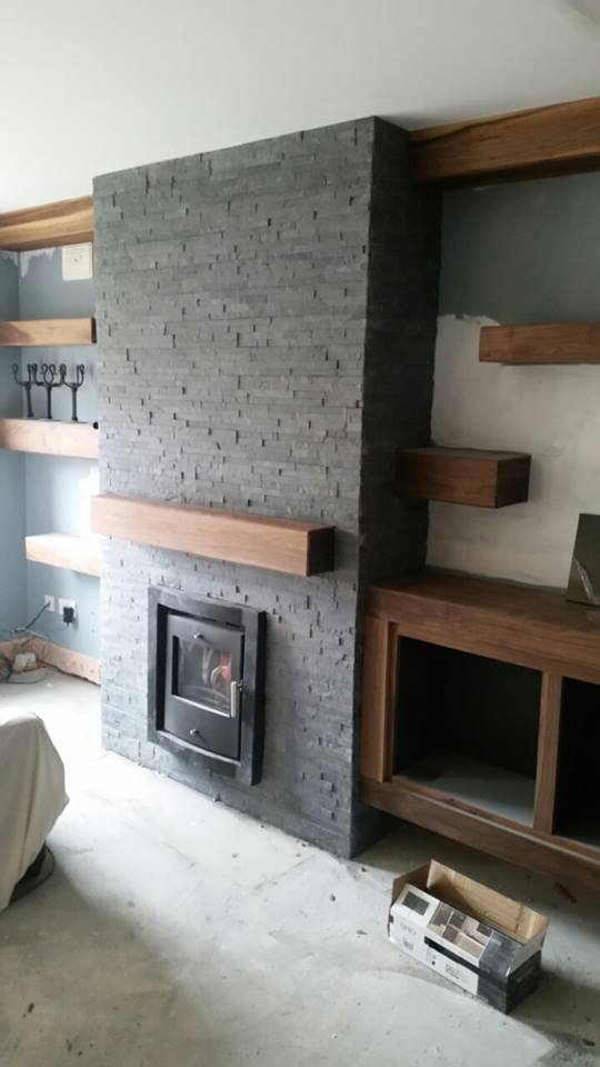 Natural stone grey colour wall stone cladding deco stones for Tiled chimney breast images