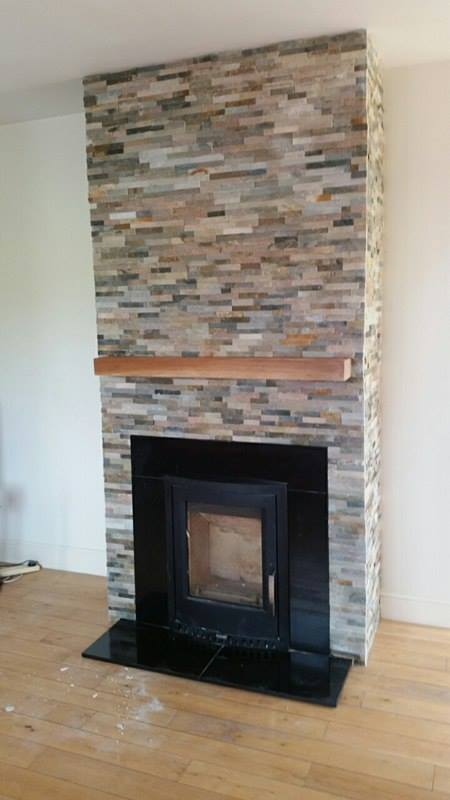 Natural stone ivory colour stone cladding for interior for Tiled chimney breast images