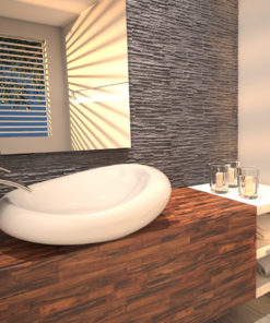 modern wood effect and grey bathroom