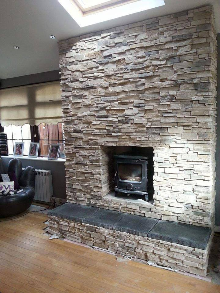 Fireplace chimney breast transformation deco stones for Tiled chimney breast images