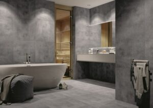 bathroom dark grey tiles