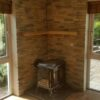 wall behind stove fireplace cladding decorative tiles heat resistant-