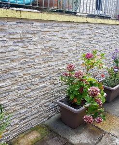 external outdoor stone garden wall
