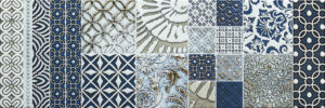 mosaic blue and white tiles