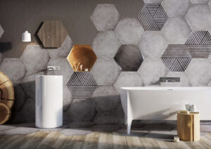 geometric wall tile in bathroom