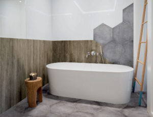 geometric tiles in bathroom design