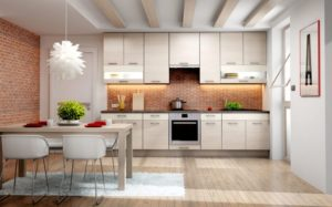 kitchen splashback -brick effect