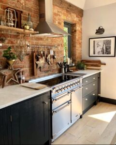 modern rustic kitchen -salvage brick slips