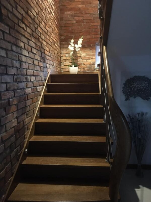 reclaimed brick slips wall cladding for stairway