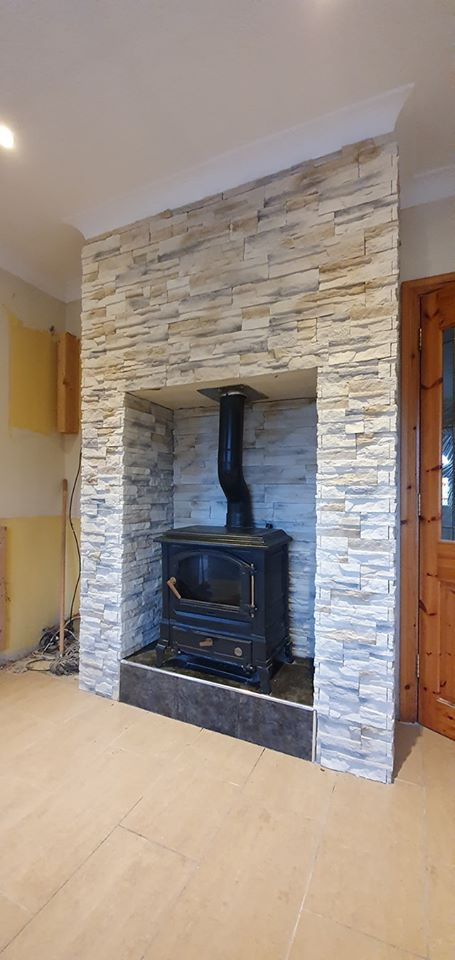 nepal frost tiles for chimney breast