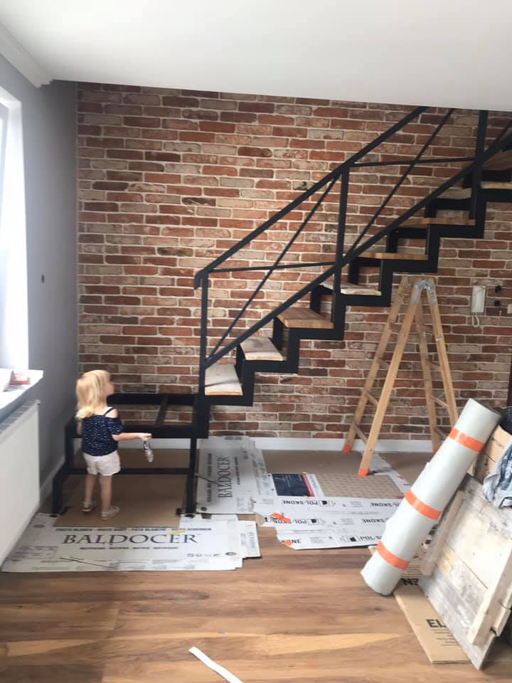reclaimed brick slips stairway wall cladding