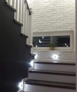 white brick slips parma gypsum tiles stairway wall