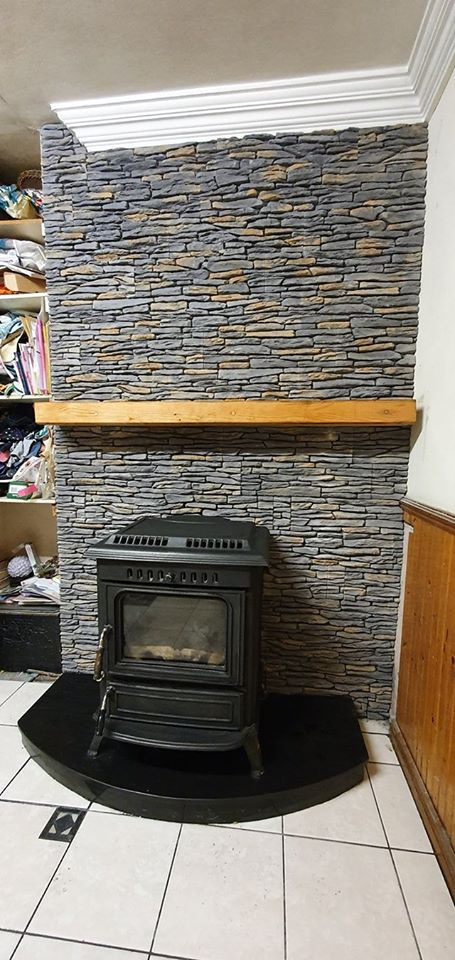 california grey stone cladding fireplace tiles